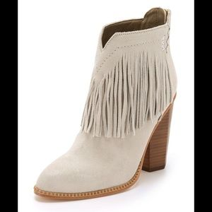 Cynthia Vincent native fringe suede ankle bootie
